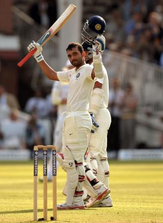 CENTURY: India's Ajinkya Rahane celebrates scoring a 100 during day one of the second test at Lord'sagainst England
