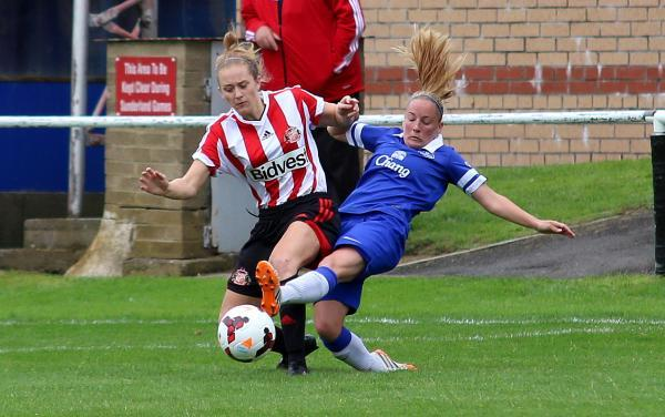 BASS BOOST: Sunderland's Rebekah Bass in action against Everton