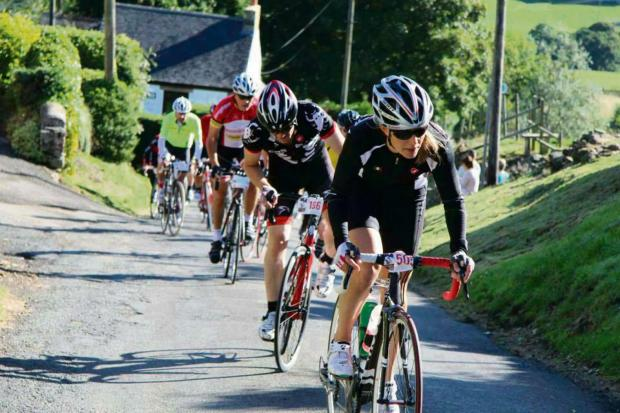 PEDAL POWER: Helen Tones leads the field on a previous fund raising effort