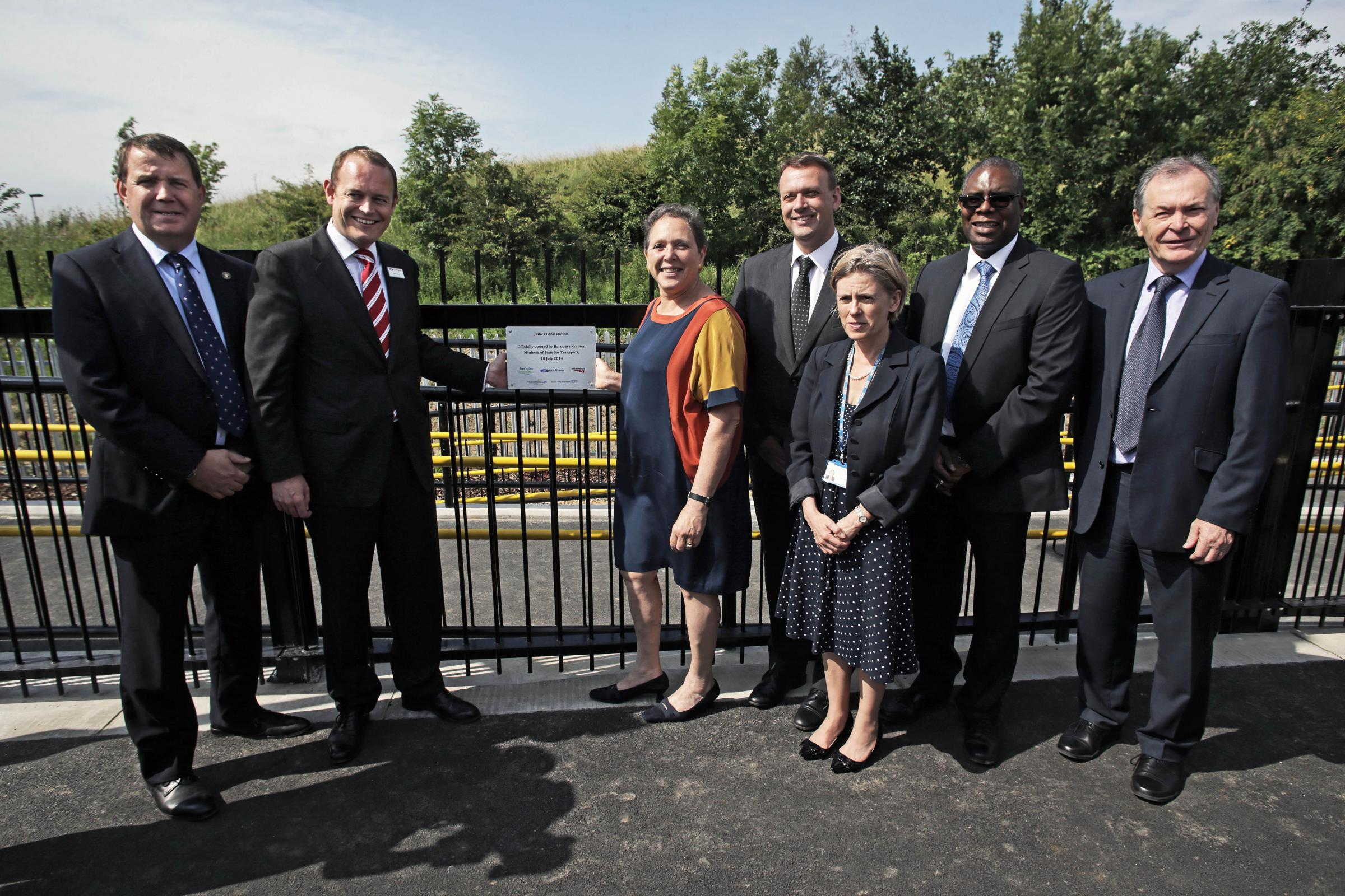 At the official opening of the James Cook station at James Cook University Hospital in Middlesbrough by Transport Minister Baroness Kramer. L-R David Robinson, TVU board