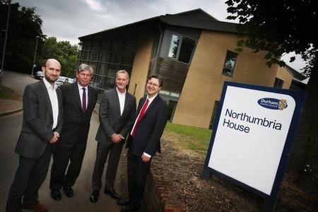 L-R Edward Twiddy, Chief Innovation Officer; George Garlick, Chief Executive, Durham County Council, Anthony Thomson, Cllr Simon Henig, Leader of Durham County Council