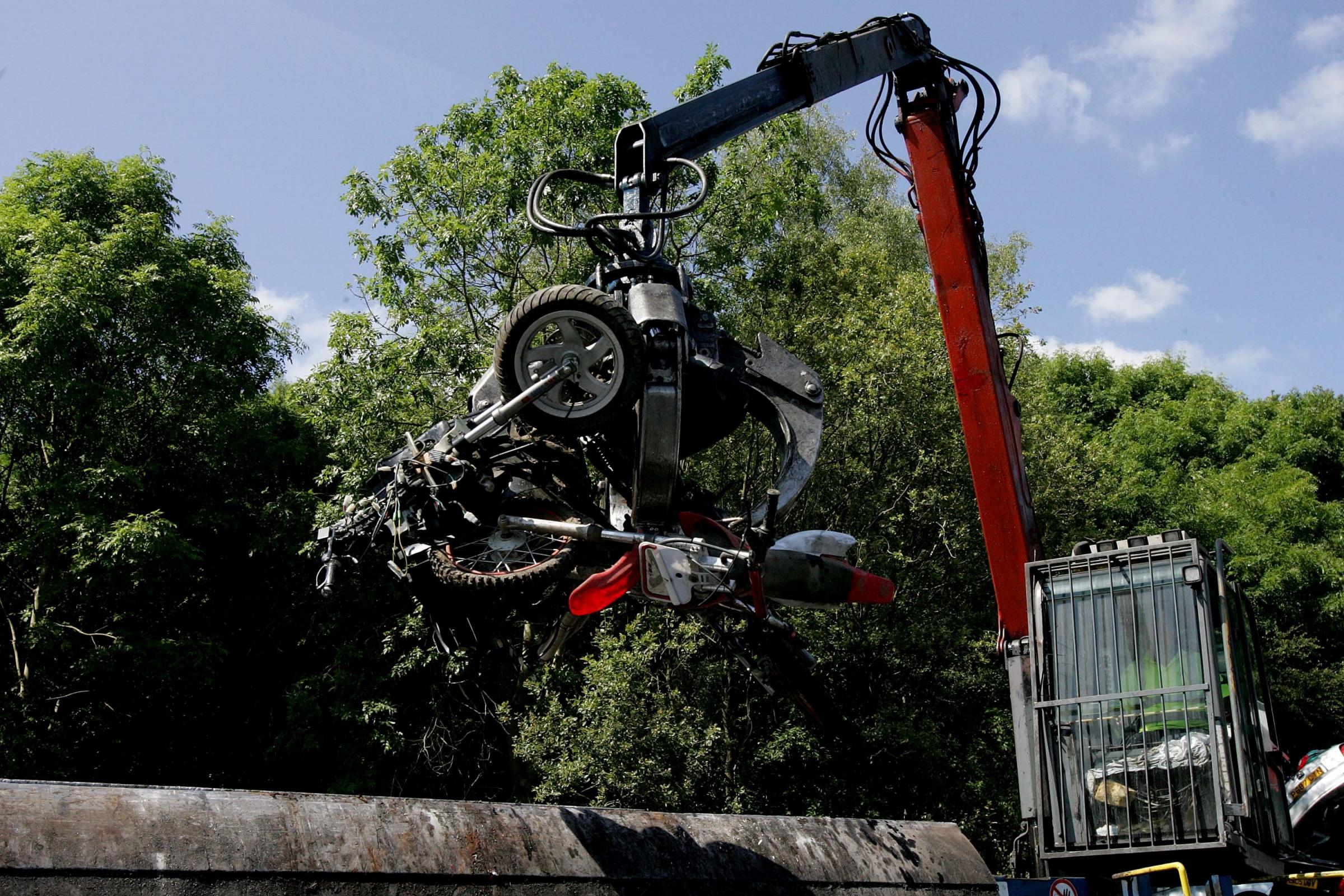 Police will use the crusher in their fight against illegal off-road bike riding