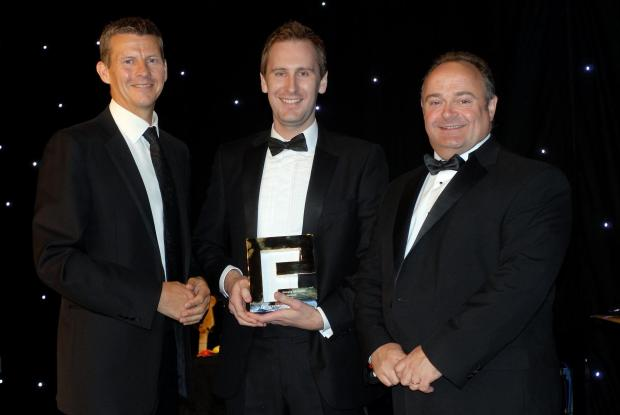 AWARDS NIGHT: ;Rob Mathieson (centre), winner of the 2013 Entrepreneurs' Forum's Emerging Talent award, with Steve Cram (left) and Richard Waterhouse, chief executive of award sponsor NBS
