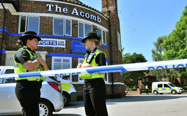 Police at the scene at The Acomb in York