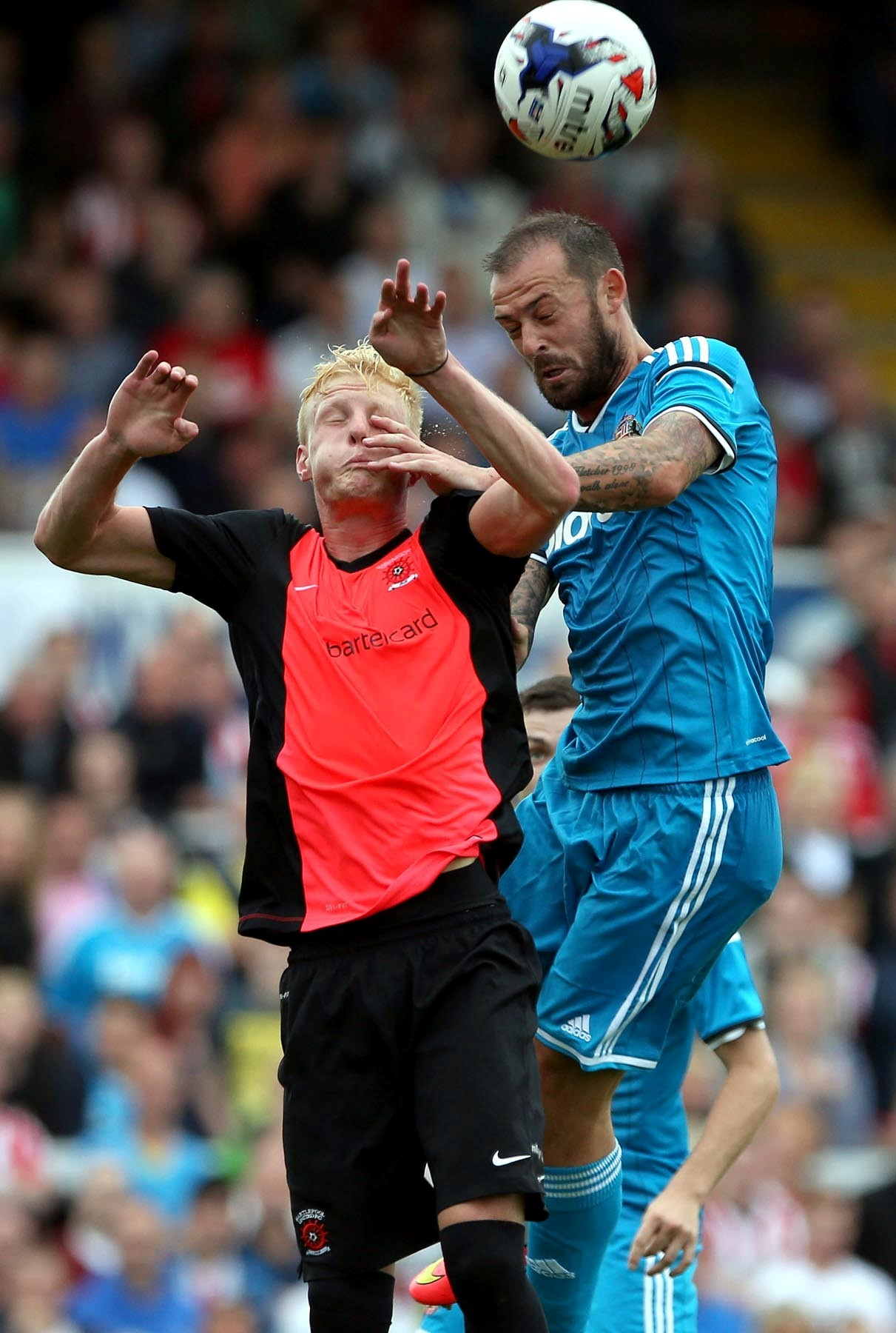 Competition: Steven Fletcher, blue, is one of the strikers keeping Danny Graham out of Gustavo Poyet's thinking. Picture: Chris Booth