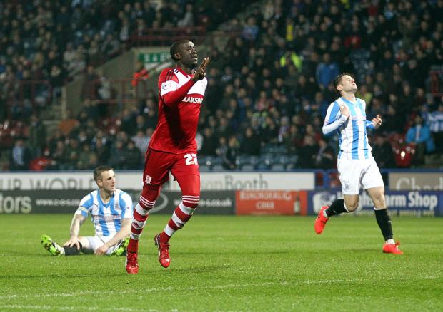 The Northern Echo: Middlesbrough's Albert Adomah celebrates scoring his sides second equalising goal (8617911)