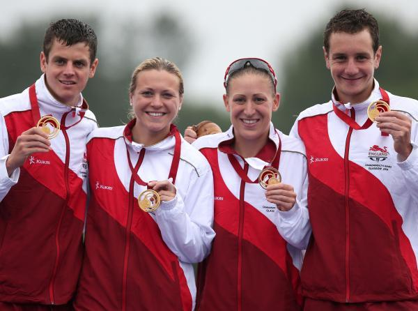 GOLDEN SMILES: Left to right, Jonathan Brownlee, Vicky Holland, Jodie Stimpson and Alistair Brownlee with their medals
