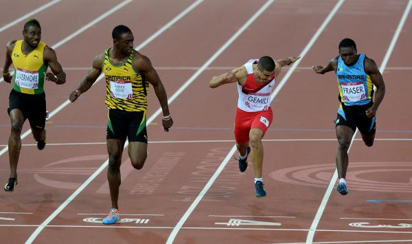 FLYING FINISH: Jamaican Kemar Bailey-Cole wins Commonwealth Game
