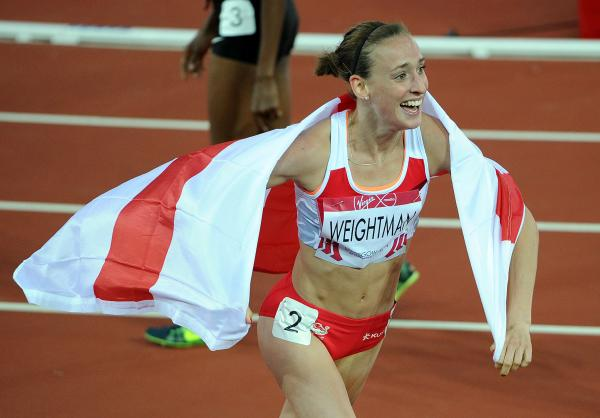 SILVER CELEBRATIONS: A jubilant Laura Weightman celebrates winning a silver medal in the 1,500m final at the Commonwealth Games