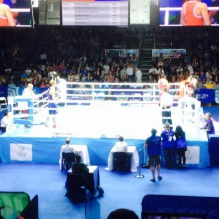 NARROW DEFEAT: Warren Baister's pursuit of a Commonwealth medal ended when he lost to Canada's Samir El-Mais in the heavyweight quarter-finals