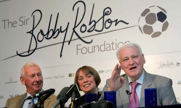 Former England and Newcastle United manager Sir Bobby Robson launches The Sir Bobby Robson Foundation in Newcastle with Dr Ruth Plummer and Bob Wilson on March 25, 2008