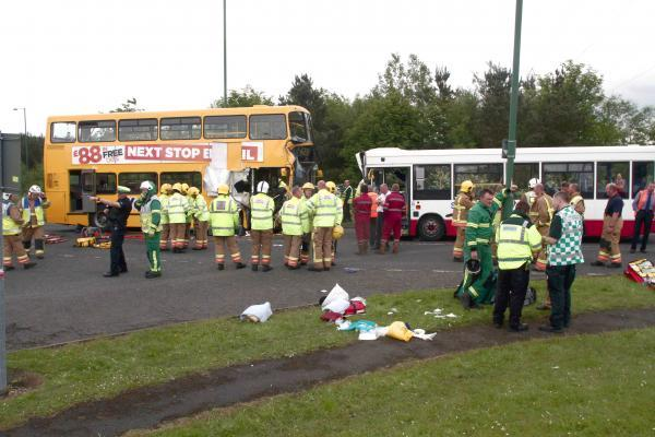 The scene of the bus crash in Stanley