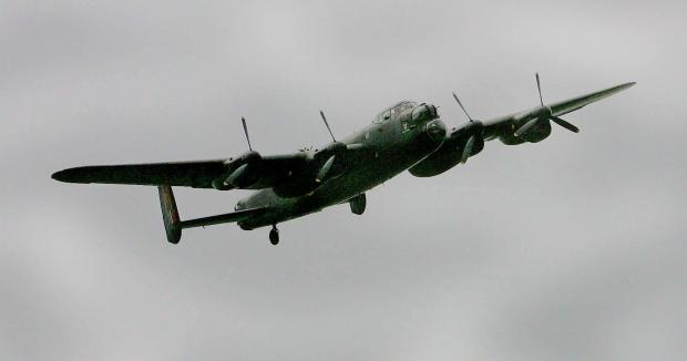 ICONIC PLANE: A Lancaster Bomber on a previous flyover at Durham Tees Valley Airport