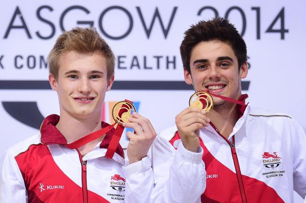GOLDEN BOY: Jack Laugher (left) receives his second Commonwealth gold medal alongside synchro partner Chris Mears