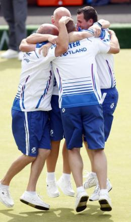 SCOTTISH JOY: The Scottish men's four team celebrate beating an England side featuring Sunderland's Stuart Airey in the Commonwealth Games final