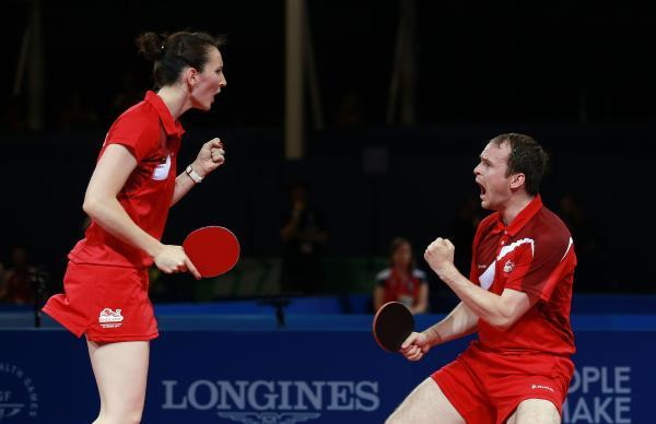 GOLDEN JOY: Husband and wife team Paul and Joanna Drinkhall claimed the mixed doubles table tennis title at the Commonwealth Games