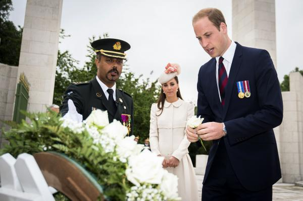 The Duke and Duchess of Cambridge lay a wreath during a ceremony at the Cointe Inter-allied Memorial, Liege, Belgium