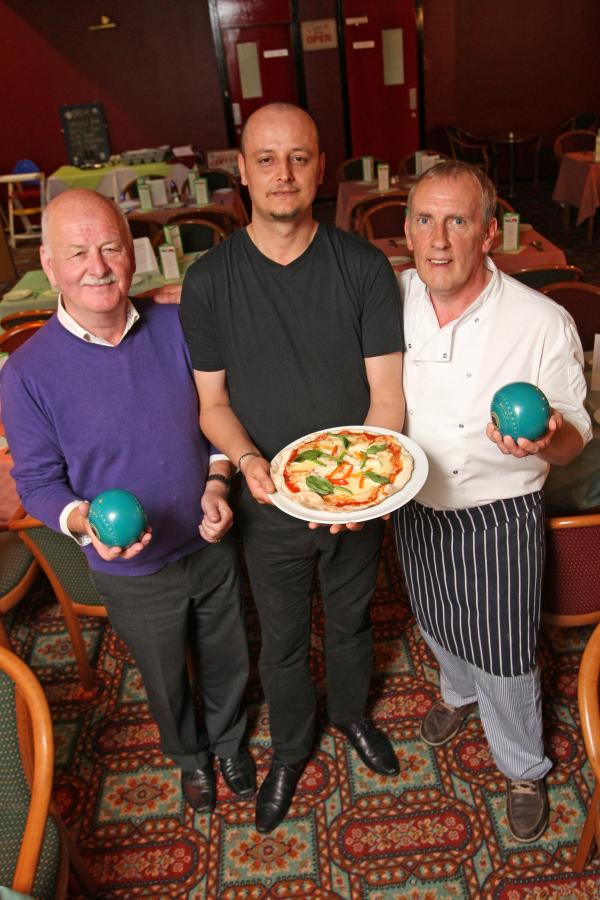 NEW RESTAURANT: Simone Nirta, centre, and Colin Edwards have setup a new restaurant, Colino's and Simone's, in Stanley Indoor Bowls Centre. Also pictured is Brian Harris, president of the bowls club. Picture: TOM BANKS
