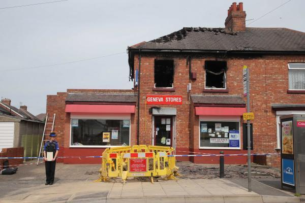 The aftermath of the fire on Geneva Road, Darlington