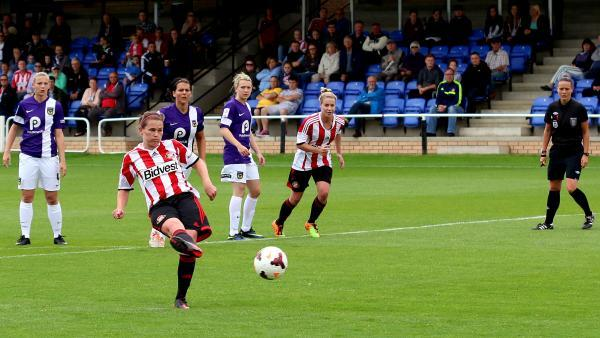 ON THE SPOT: Kelly McDougall takes a penalty for Sunderland