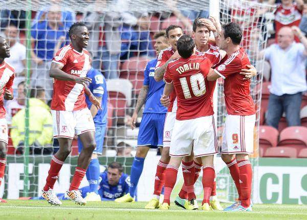 OPENING GOAL: Middlesbrough's players celebrate Daniel Ayala's headed goal against Birmingham