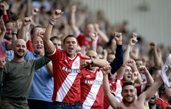 HAPPY SCENES: Middlesbrough supporters celebrate their side's opening-day victory over Birmingham City
