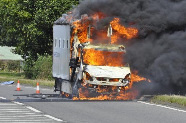 The prison van ablaze on the A19 at Birdforth, between Thirsk and Easingwold. Picture: Richard Darn