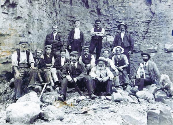 THE QUARRYMEN OF WEARDALE: Probably taken in the Frosterley area with Ian Wilkinson's grandfather, William Wilkinson, the young man seated third from left