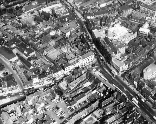 AERIAL VIEW: Darlington town centre on March 10, 1965
