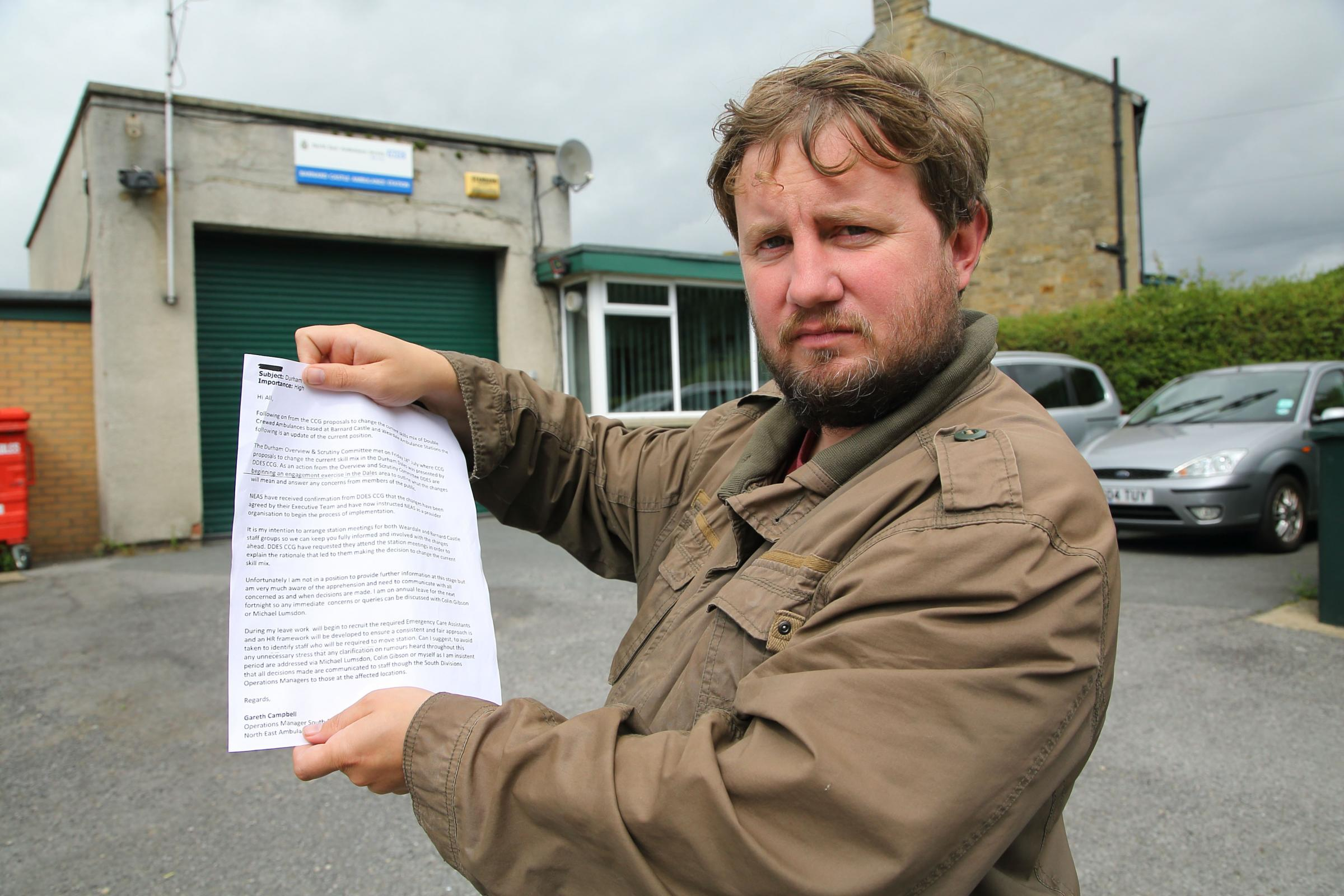 Councillor Tom Deacon pictured outside Barnard Castle Ambulance Station with the leaked email