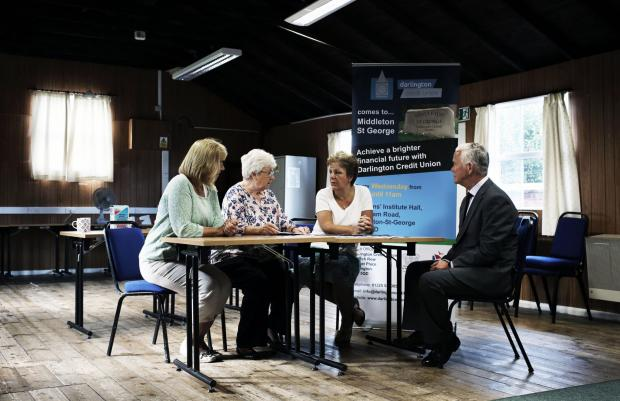 SEEKING DEPOSITS: Volunteers Hilary Reaney and Valerie Smith, coun. Doris Jones and Tony Brockley of Darlington Credit Union at the first meeting of the Middleton St. George Credit Union Picture: STUART BOULTON