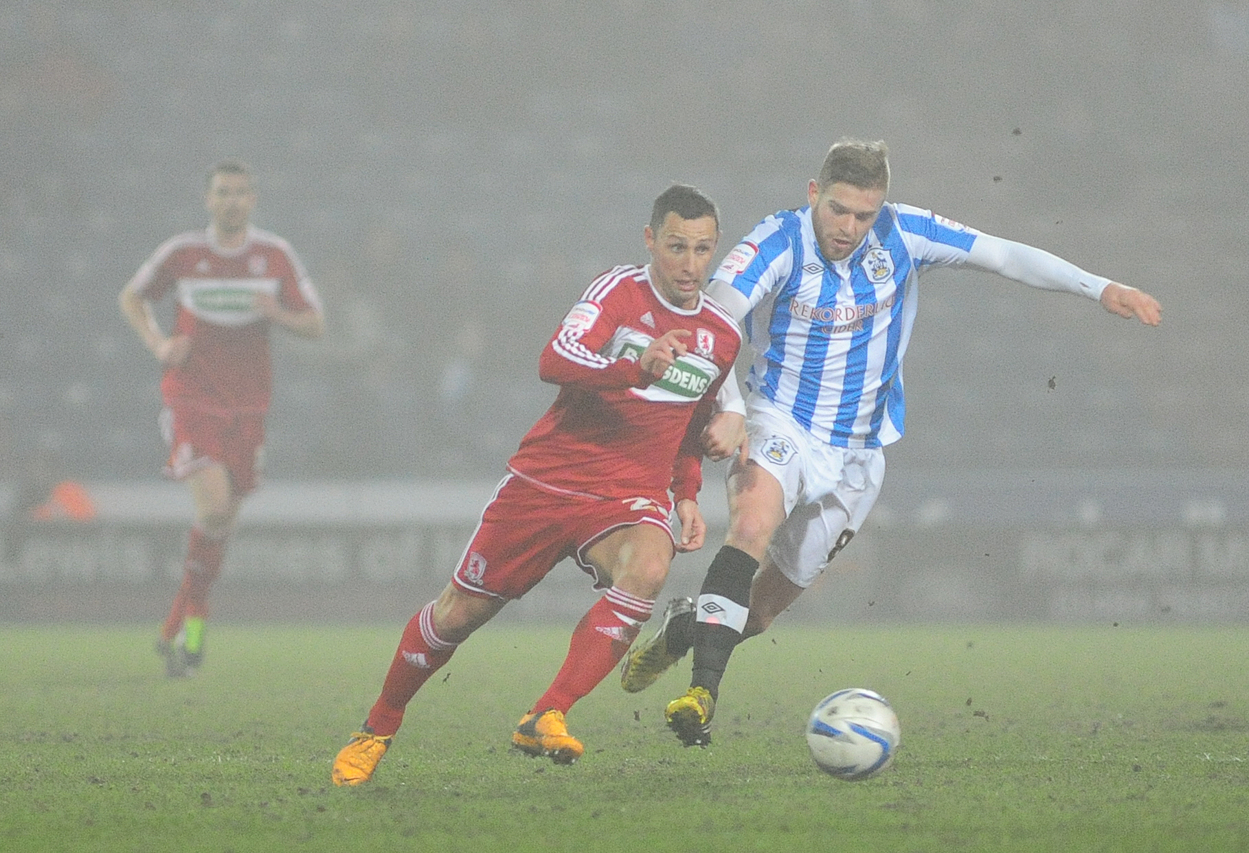NEW ARRIVAL: Adam Clayton, pictured playing against Middlesbrough for Huddersfield, insists his move to Teesside was never in doubt after signing a four-year contract at the Riverside Stadium