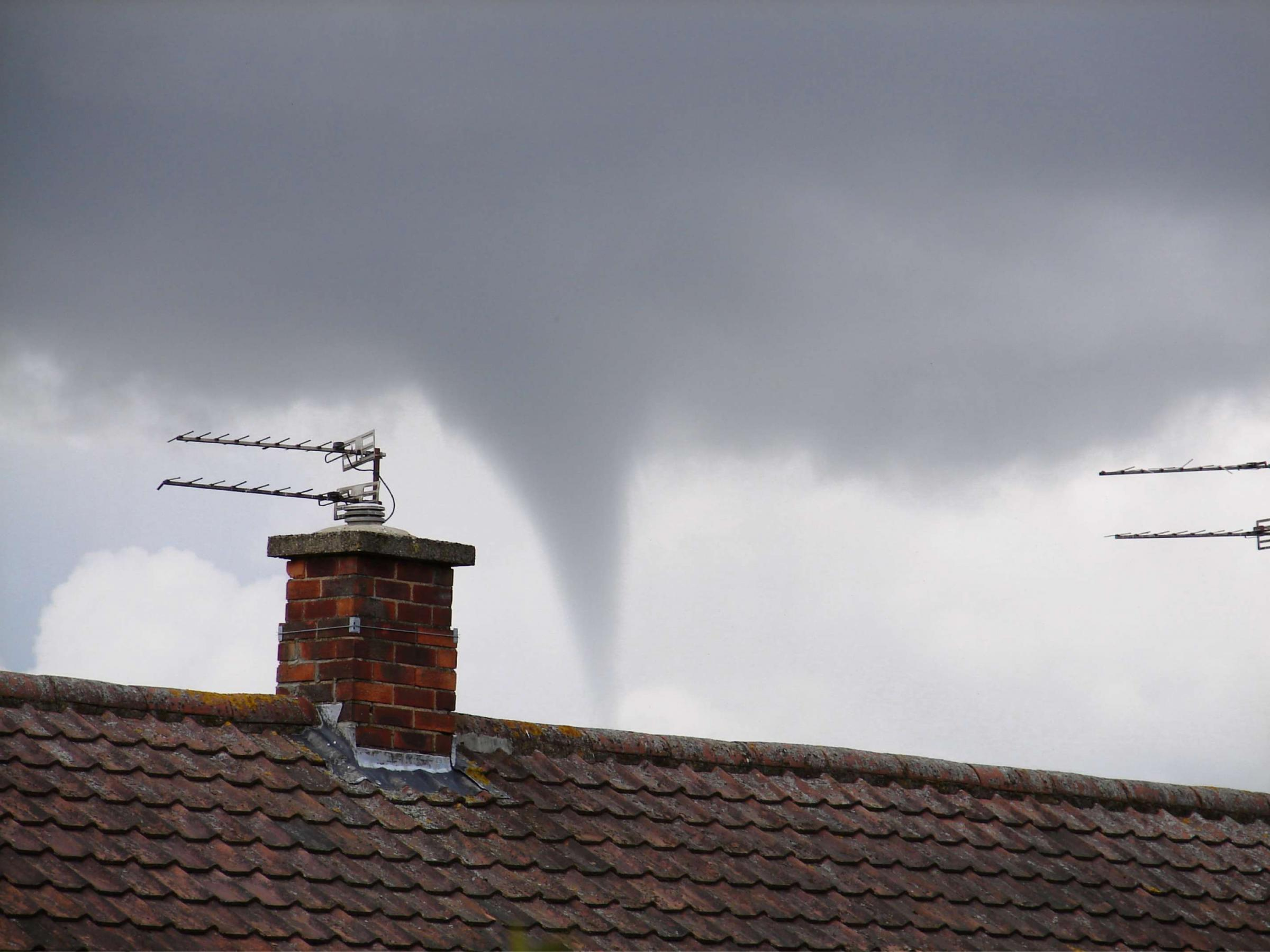 FUNNEL CLOUD: Mark Williams' photograph of the funnel cloud above Darlington