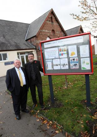 Framwellgate Moor, Durham City- Colin Hillary (left), chairman of the community association and parish councillor Terry Moderate, pictured outside Framwellgate Moor community centre, where the community association is to take over the council-run communit