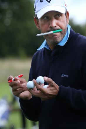 MAKING HIS MARK: Santiago Luna marks his golf balls with felt tip before playing the Pro-Am tournament at Rockliffe Hall