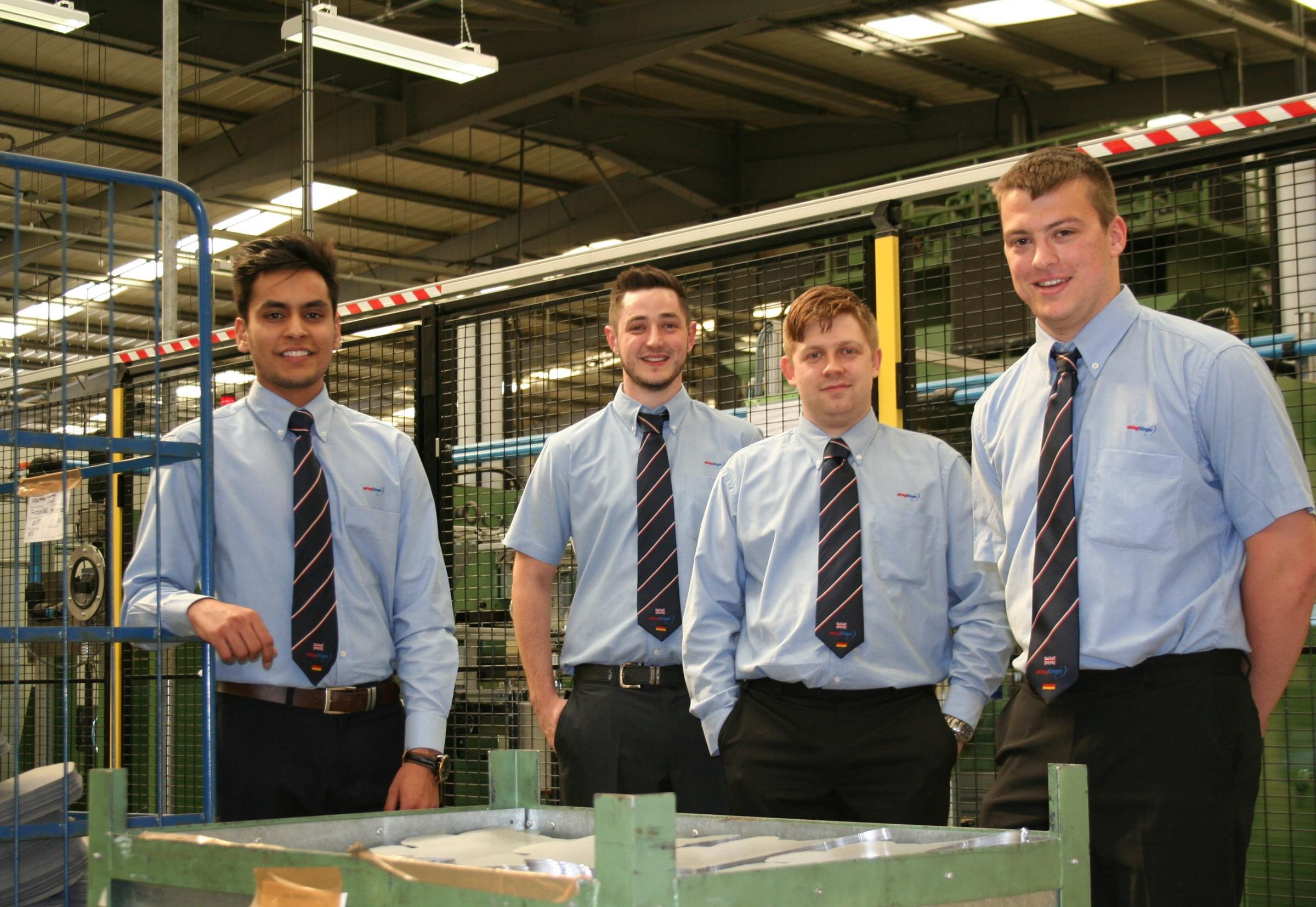 DRIVING AMBITION: (L-R) ElringKlinger (GB) Year in Industry students Rohan Gill, Ben Russell, Daniel Wilson & Connor Jackson.