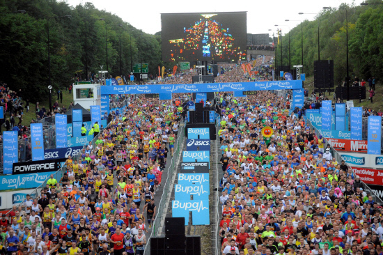 GREAT OCCASION: The start of the Bupa Great North Run 2013, with the elite mens runners, including Mo Farah, at the start line