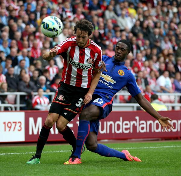 INSTANT IMPRESSION: Sunderland new boy Will Buckley, in action against Manchester United