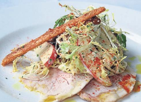 Leftover roast pork salad with crackling
