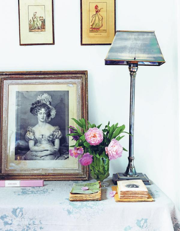 A feature corner in Christina's flat featured in Cabbages & Roses: Living Life Beautifully