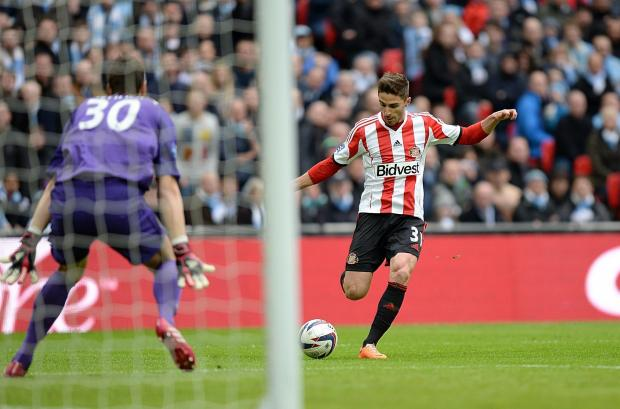 HAPPY MEMORY: Fabio Borini scores Sunderland's opening goal during March's Capital One Cup final against Manchester City