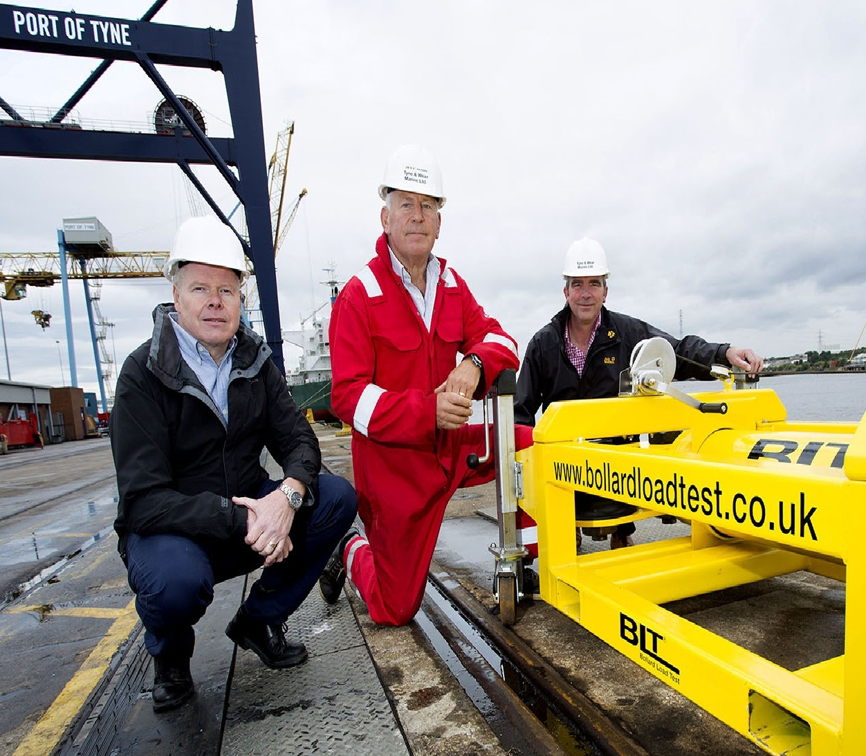 PULLING TOGETHER: Pictured from left to right with the Bollard Load Test device are Alan Hewett, of the Manufacturing Advisory Service, Jeff Main, director of Tyne and Wear Marine, and Ade Walton, from Prozeus