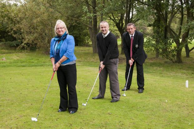 TEEING OFF: Councillor Tracy Harvey, Middlesbrough Municipal Golf Centre Duty Manager, Steve Pentland, and Gary Frost, Club Captain of Middlesbrough Municipal Golf Club launch this year's Pro-Am