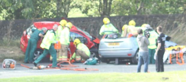 Emergency services on the scene of the crash on Wednesday afternoon