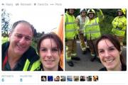 The selfies posted to Twitter from the scene of the crash