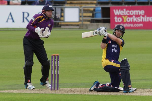 KEY CONTRIBUTION: Mark Stoneman of Durham in batting action yesterday against Yorkshire at Headingley. He made 102 runs during Durham's 31-run win in the Royal London Cup quarter-final