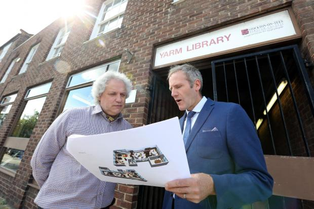 Stockton Council's Reuben Kench with Yarm Branch Librarian Ivan Limon looking at plans to refurbish the library.   Picture by Dave Charnley
