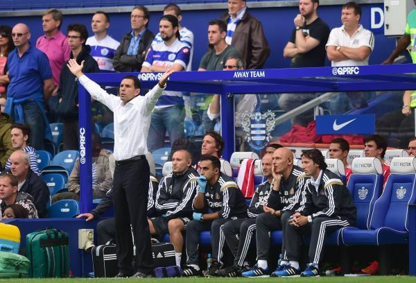 FRUSTRATED: Sunderland manager Gus Poyet gestures to the referee at Loftus Road on Saturday during his side's 1-0 defeat to Queens Park Rangers