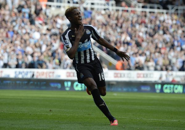 MAN OF THE MATCH: Rolando Aarons celebrates after scoring Newcastle's second goal