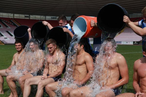 ICE TEAM: Members of Darlington Mowden Park's first-team squad during the challenge Picture: SARAH CALDECOTT